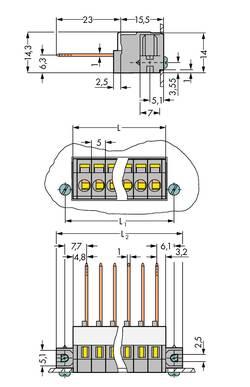Bornier à ressort WAGO 731-136/048-000 2.50 mm² Nombre total de pôles 6 gris 25 pc(s)