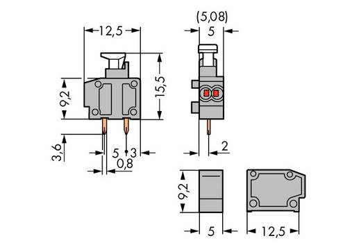 Federkraftklemmblock 0.50 mm² Polzahl 1 WAGO Grau 800 St.
