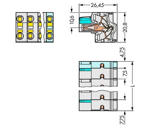 Federleiste 721-2210/026-000 Gesamtpolzahl 10 Anzahl Reihen 2 WAGO 25 St.