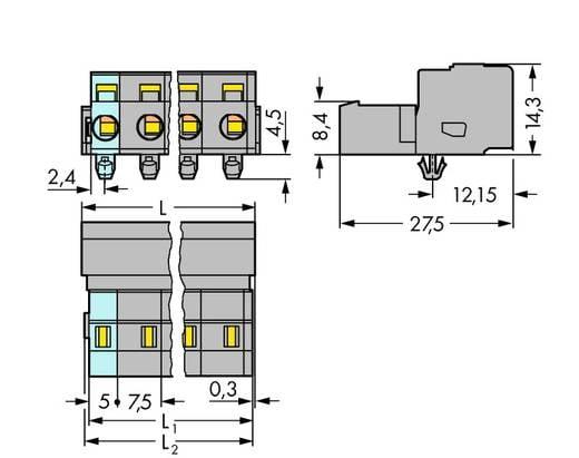 Stiftleiste (Standard) 2081 Polzahl Gesamt 3 WAGO 731-603/018-000 Rastermaß: 7.50 mm 100 St.