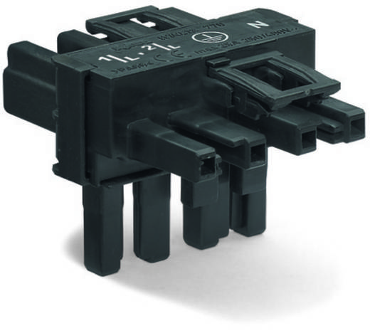 Netz-T-Verteiler Netz-Stecker - Netz-Buchse, Netz-Buchse Gesamtpolzahl: 4 Schwarz WAGO 50 St.