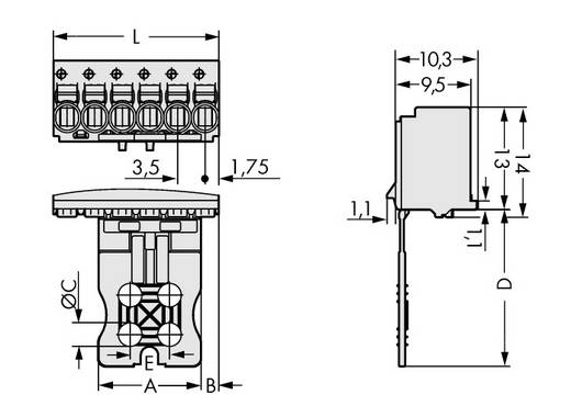 Stiftgehäuse-Platine 2091 Polzahl Gesamt 5 WAGO 2091-1105/000-1000 Rastermaß: 3.50 mm 50 St.