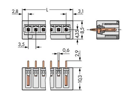 WAGO 734-140/100-000 Stiftgehäuse-Platine 734 Polzahl Gesamt 10 Rastermaß: 3.50 mm 100 St.
