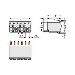 Konektor do DPS WAGO 2091-1175, 17.50 mm, pólů 5, rozteč 3.50 mm, 200 ks