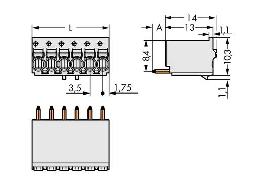 WAGO Stiftgehäuse-Platine 2091 Polzahl Gesamt 10 Rastermaß: 3.50 mm 2091-1180/200-000 100 St.