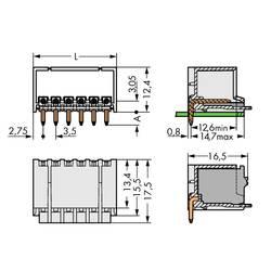 Konektor do DPS WAGO 2091-1422, 17.50 mm, pólů 2, rozteč 3.50 mm, 200 ks