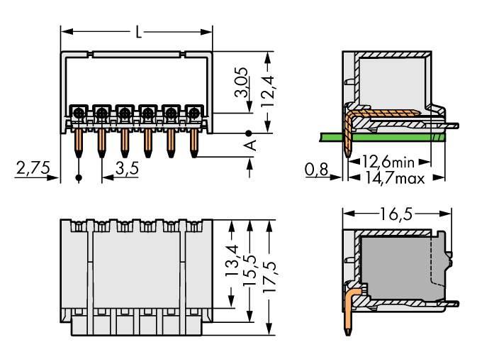 2091 Polzahl Gesamt 12 Rastermaß WAGO Buchsenleiste Standard 3.50 mm