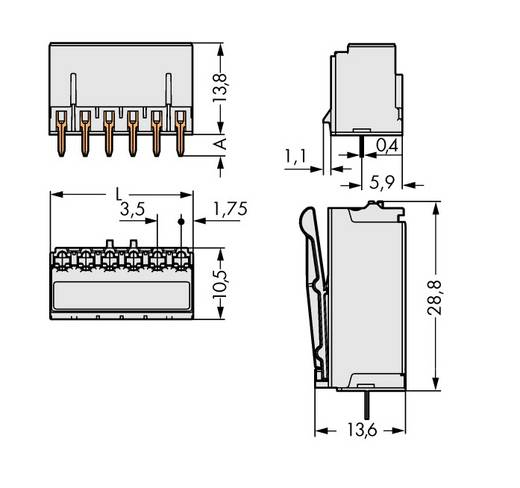 WAGO 2091-1306 Stiftgehäuse-Platine 2091 Polzahl Gesamt 6 Rastermaß: 3.50 mm 100 St.