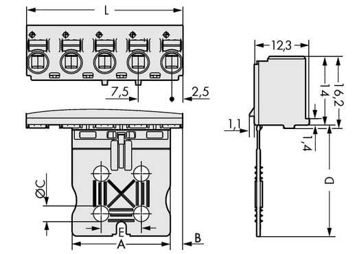 Buchsengehäuse-Kabel 2092 Polzahl Gesamt 5 WAGO 2092-3105 Rastermaß: 7.50 mm 100 St.