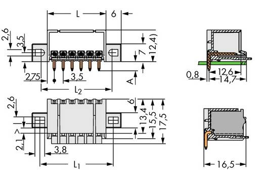 Stiftgehäuse-Platine 2091 Polzahl Gesamt 5 WAGO 2091-1425/005-000 Rastermaß: 3.50 mm 200 St.