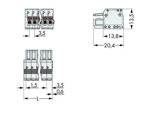 WAGO Buchsengehäuse-Kabel 2734 Polzahl Gesamt 4 Rastermaß: 3.50 mm 2734-104 100 St.