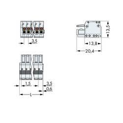 Zásuvkové púzdro na kábel WAGO 2734-102, 20.40 mm, pólů 2, rozteč 3.50 mm, 200 ks
