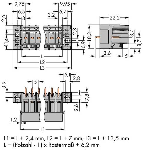 Buchsengehäuse-Platine 769 Polzahl Gesamt 12 WAGO 769-642/003-000 Rastermaß: 5 mm 25 St.