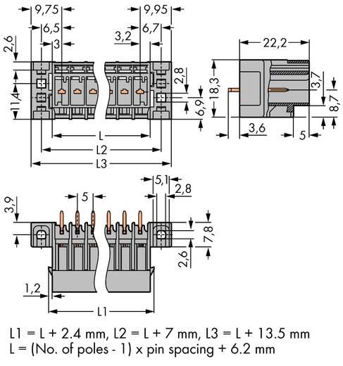 Buchsengehäuse-Platine 769 Polzahl Gesamt 6 WAGO 769-636/003-000 Rastermaß: 5 mm 25 St.