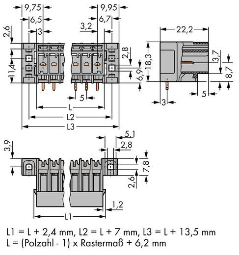 Buchsengehäuse-Platine 769 Polzahl Gesamt 9 WAGO 769-669/003-000 Rastermaß: 5 mm 25 St.