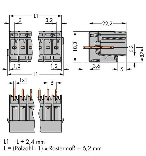Buchsengehäuse-Platine 769 Polzahl Gesamt 4 WAGO 769-634 Rastermaß: 5 mm 50 St.