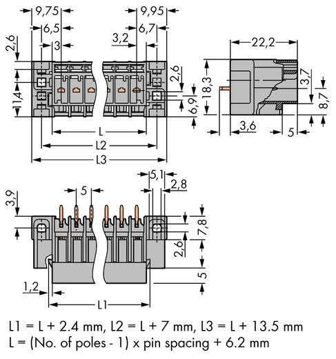 Buchsengehäuse-Platine 769 Polzahl Gesamt 2 WAGO 769-632/004-000 Rastermaß: 5 mm 200 St.