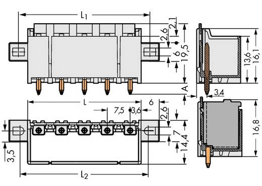 Stiftgehäuse-Platine 2092 Polzahl Gesamt 2 WAGO 2092-3402/005-000 Rastermaß: 7.50 mm 100 St.