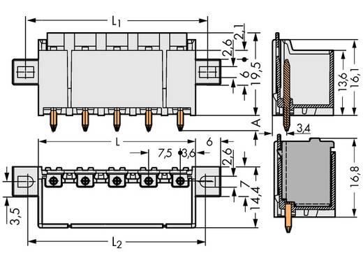 Stiftgehäuse-Platine 2092 Polzahl Gesamt 5 WAGO 2092-3405/205-000 Rastermaß: 7.50 mm 100 St.