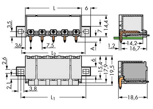 Stiftgehäuse-Platine 2092 Polzahl Gesamt 3 WAGO 2092-3423/005-000 Rastermaß: 7.50 mm 100 St.