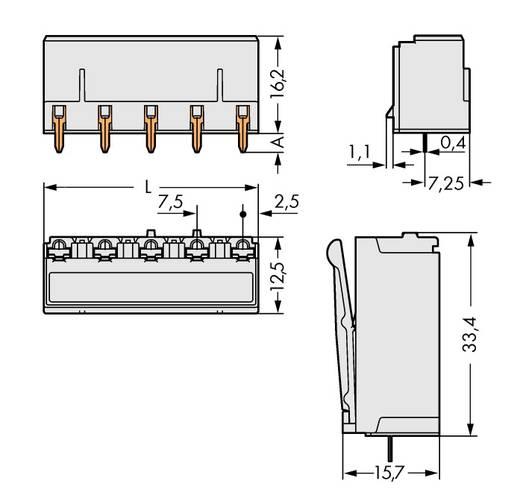 Buchsengehäuse-Platine 2092 Polzahl Gesamt 5 WAGO 2092-3305 Rastermaß: 7.50 mm 100 St.