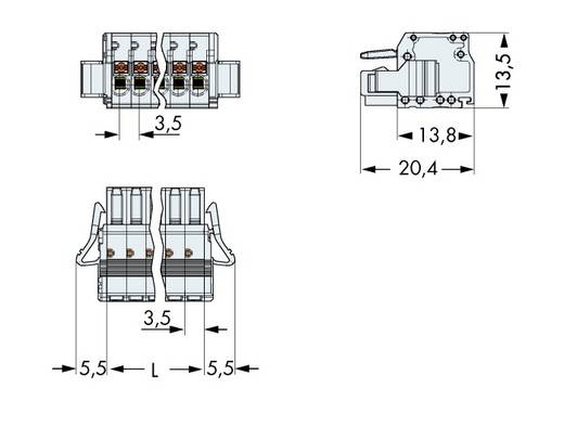 Buchsengehäuse-Kabel 2734 Polzahl Gesamt 4 WAGO 2734-104/037-000 Rastermaß: 3.50 mm 100 St.