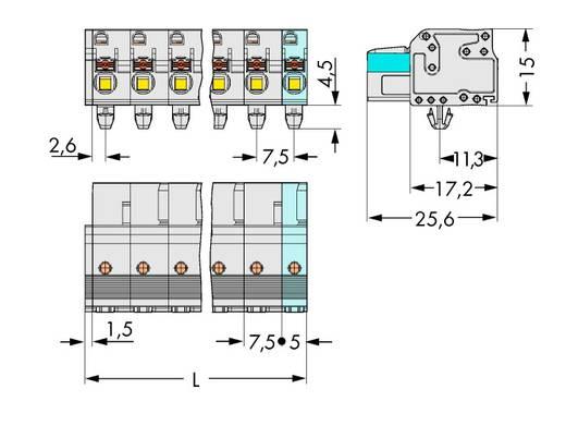 WAGO 2721-203/008-000 Buchsengehäuse-Kabel 2721 Polzahl Gesamt 3 Rastermaß: 7.50 mm 100 St.