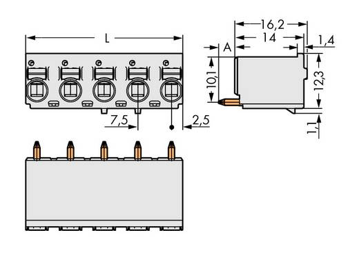 Stiftgehäuse-Platine 2092 Polzahl Gesamt 5 WAGO 2092-3175/200-000 Rastermaß: 7.50 mm 100 St.