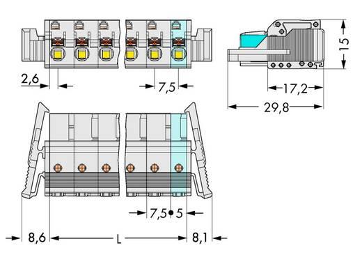 Buchsengehäuse-Kabel 2721 Polzahl Gesamt 2 WAGO 2721-202/037-000 Rastermaß: 7.50 mm 50 St.