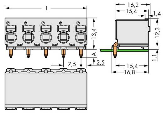 Buchsengehäuse-Platine 2092 Polzahl Gesamt 4 WAGO 2092-3374 Rastermaß: 7.50 mm 100 St.
