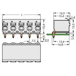 Zásuvkové puzdro na dosku WAGO 2092-3354, 40.40 mm, pólů 4, rozteč 7.50 mm, 100 ks