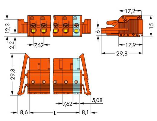 WAGO 2231-702/037-000 Buchsengehäuse-Kabel 2231 Polzahl Gesamt 2 Rastermaß: 7.62 mm 50 St.