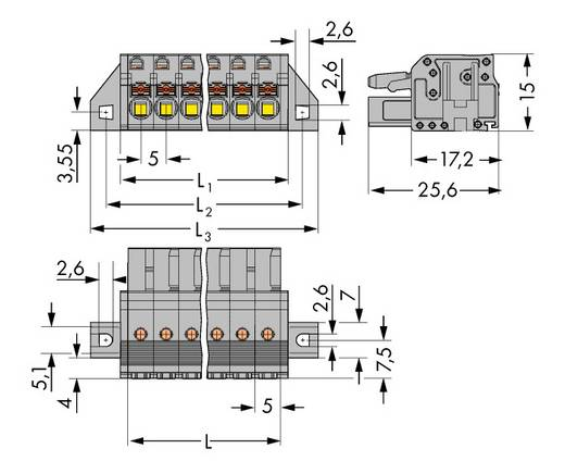 Buchsengehäuse-Kabel 2231 Polzahl Gesamt 5 WAGO 2231-105/031-000 Rastermaß: 5 mm 50 St.