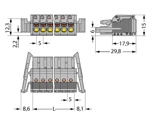 WAGO Buchsengehäuse-Kabel 2231 Polzahl Gesamt 15 Rastermaß: 5 mm 2231-115/037-000 25 St.
