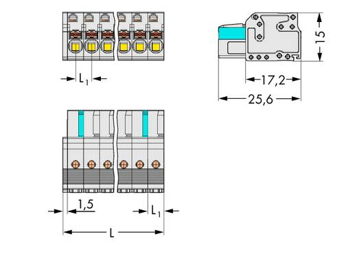 Buchsengehäuse-Kabel 2721 Polzahl Gesamt 6 WAGO 2721-106/026-000 Rastermaß: 5 mm 50 St.