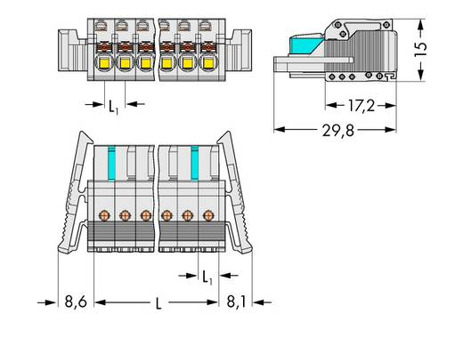 Buchsengehäuse-Kabel 2721 Polzahl Gesamt 6 WAGO 2721-106/037-000 Rastermaß: 5 mm 50 St.