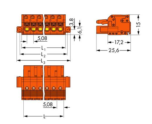 WAGO 2231-302/107-000 Buchsengehäuse-Kabel 2231 Polzahl Gesamt 2 Rastermaß: 5.08 mm 100 St.