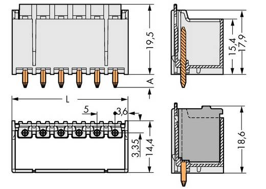 WAGO Stiftgehäuse-Platine 2092 Polzahl Gesamt 5 Rastermaß: 5 mm 2092-1405 100 St.