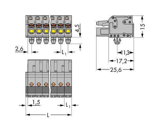 WAGO Buchsengehäuse-Kabel 2231 Polzahl Gesamt 22 Rastermaß: 5 mm 2231-122/008-000 10 St.