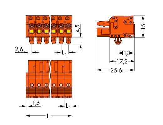 WAGO 2231-306/008-000 Buchsengehäuse-Kabel 2231 Polzahl Gesamt 6 Rastermaß: 5.08 mm 50 St.