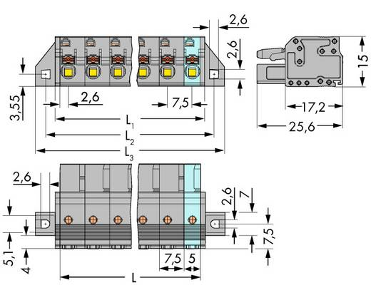 WAGO 2231-208/031-000 Buchsengehäuse-Kabel 2231 Polzahl Gesamt 8 Rastermaß: 7.50 mm 25 St.