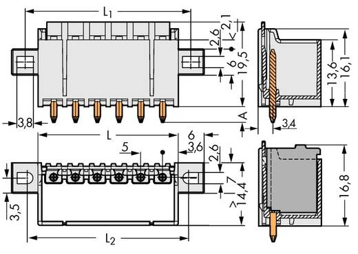 Stiftgehäuse-Platine 2092 Polzahl Gesamt 4 WAGO 2092-1404/205-000 Rastermaß: 5 mm 200 St.