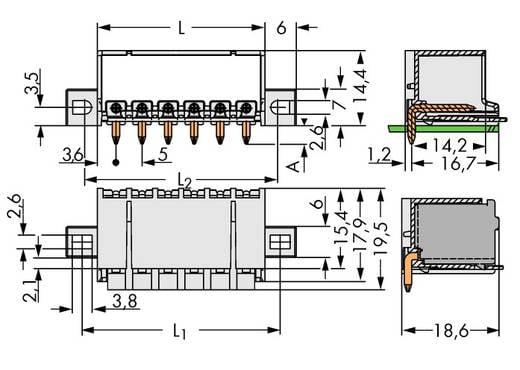 WAGO Stiftgehäuse-Platine 2092 Polzahl Gesamt 5 Rastermaß: 5 mm 2092-1425/005-000 100 St.