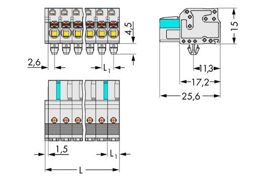 Buchsengehäuse-Kabel 2721 Polzahl Gesamt 15 WAGO 2721-115/008-000 Rastermaß: 5 mm 25 St.