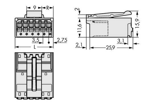 WAGO 2091-1522/002-000 Stiftgehäuse-Platine 2091 Polzahl Gesamt 2 Rastermaß: 3.50 mm 200 St.