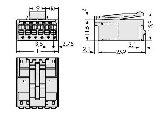 WAGO Stiftgehäuse-Platine 2091 Polzahl Gesamt 4 Rastermaß: 3.50 mm 2091-1524/002-000 200 St.