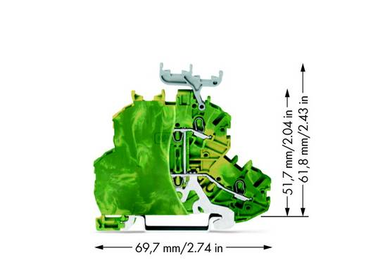 Doppelstock-Schutzleiterklemme 4.20 mm Zugfeder Belegung: PE Grün-Gelb WAGO 2000-2237/099-000 50 St.