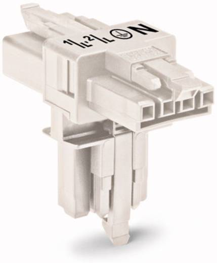 Netz-T-Verteiler Netz-Stecker - Netz-Buchse, Netz-Buchse Gesamtpolzahl: 4 Weiß WAGO 25 St.