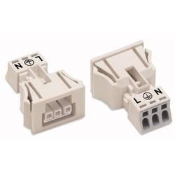 Sieťový konektor WAGO zásuvka, rovná, počet kontaktov: 3, 16 A, 250 V, biela, 50 ks