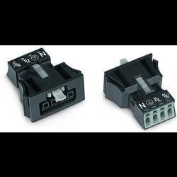 Sieťový konektor WAGO zásuvka, rovná, počet kontaktov: 4, 16 A, 400 V, čierna, 50 ks